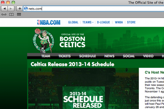 Brooklyn Nets Website Links to Boston Celtics Homepage