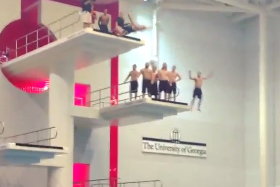Mark Richt Backflips off 30-Foot High Dive