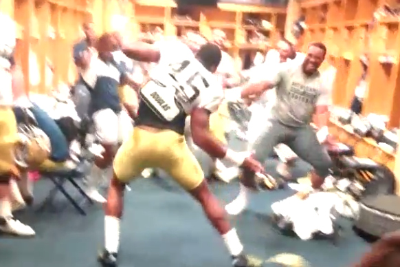 Notre Dame Players Get Rowdy in Locker Room