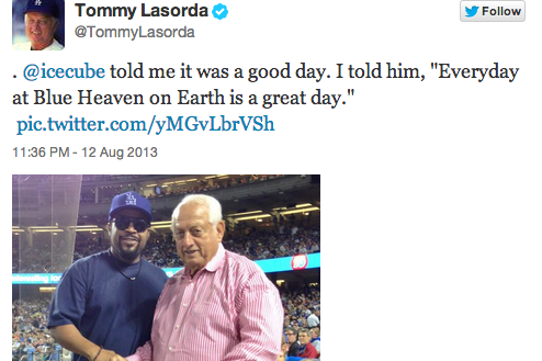 Of Course Ice Cube Told Tommy Lasorda 'It Was a Good Day'