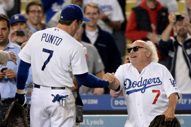 Dodgers Infielder Nick Punto Celebrates His Home Run with Danny DeVito