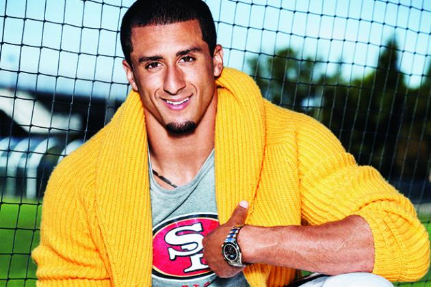 Colin Kaepernick Wore a Cardigan with Football Pants in GQ