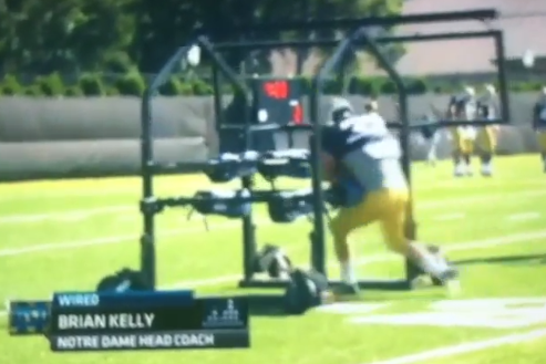Video: Notre Dame Running Back Runs Through Gauntlet Machine