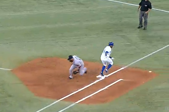 Blue Jays' Rajai Davis Scores After Comedy of Errors on Simple Grounder