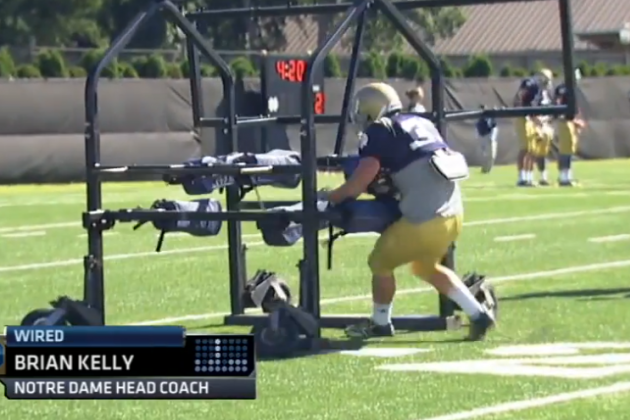 Notre Dame RB Takes on a Gauntlet Machine the Wrong Way, Gets Destroyed