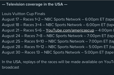 Complete Louis Vuitton Cup TV Schedule