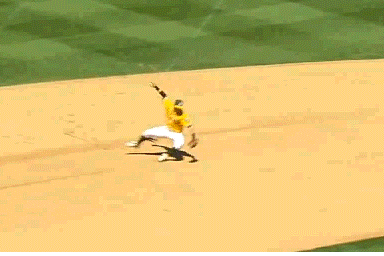 Eric Sogard Video: A's Shortstop Narrowly Escapes Injury from Flying Broken Bat