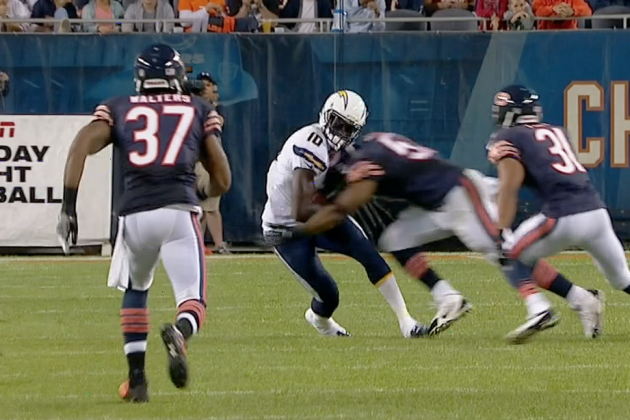 Chicago Bears LB Jon Bostic Lays out San Diego Chargers WR Mike Willie