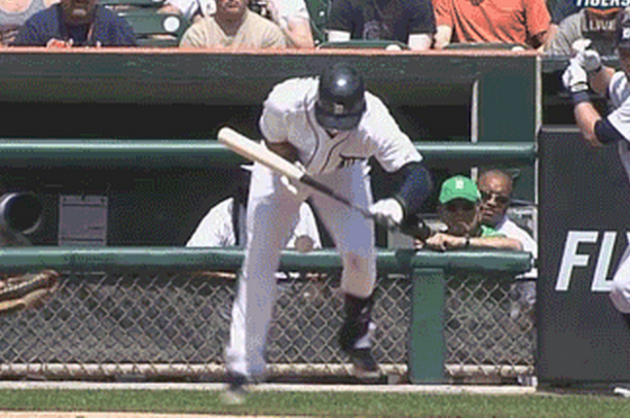 Detroit Tigers' Jose Iglesias Takes a Fastball Below the Belt