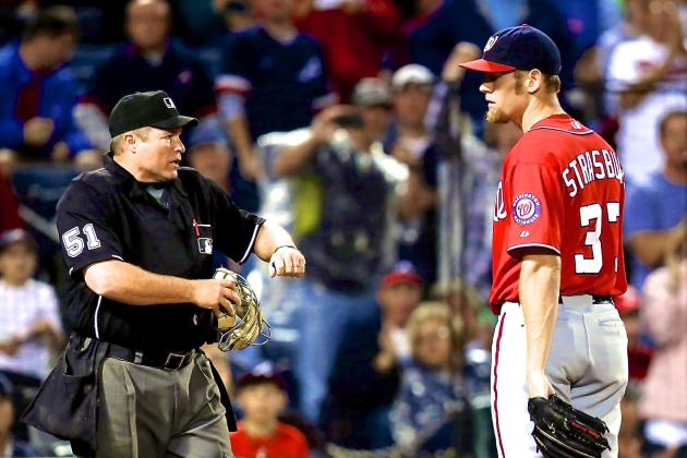 Stephen Strasburg Ejected After Throwing 3 Straight Wild Pitches vs. Braves