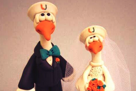 Photo: UM Fans Get 'Sebastian the Ibis' Wedding Cake Figurines