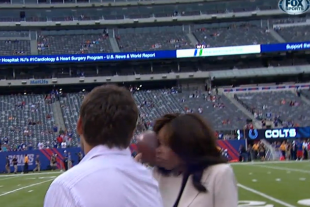 Colts Quarterback Chandler Harnish Hits Pam Oliver in the Head with a Pass