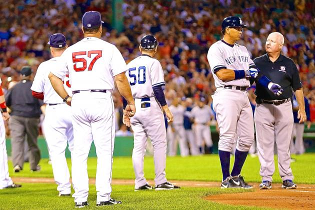 Joe Girardi Ejected After Alex Rodriguez is Hit by Red Sox Pitcher Ryan Dempster