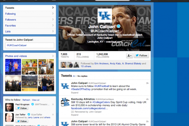 Calipari Ranked No. 1 in Best College Basketball Coach Twitter Rankings