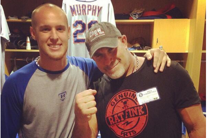 Wheeler Poses with Wrestling Icon Goldberg