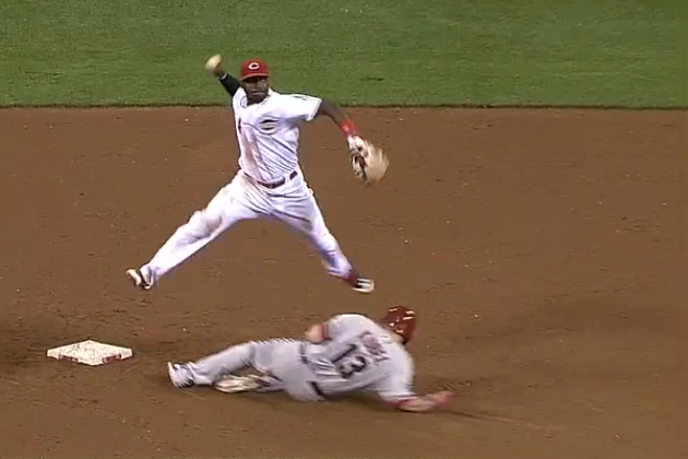 Cincinnati Reds Video: Cozart and Phillips Turn Terrific Double Play
