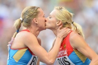 Russian Sprinters Deny Kiss on Podium Was out of Protest