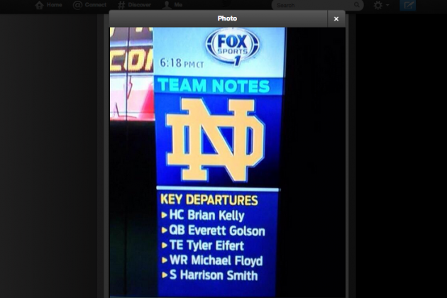 Photo: FOX Sports 1 Thinks Brian Kelly Has Left Notre Dame