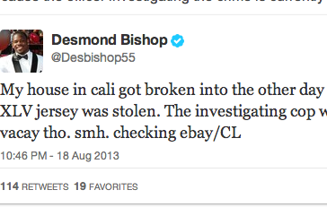 Desmond Bishop's House Broken Into, Super Bowl Jersey Stolen