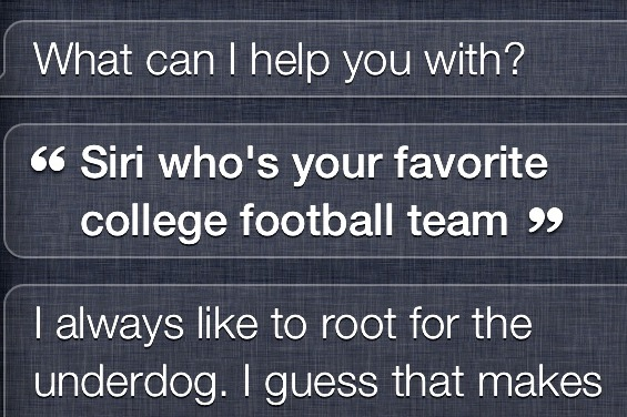 Apple iPhone's Personal Assistant Siri Has a Favorite College Football Team