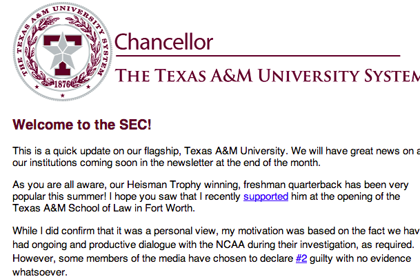 A&M Chancellor Sends out Email Blasting Darren Rovell's Reporting