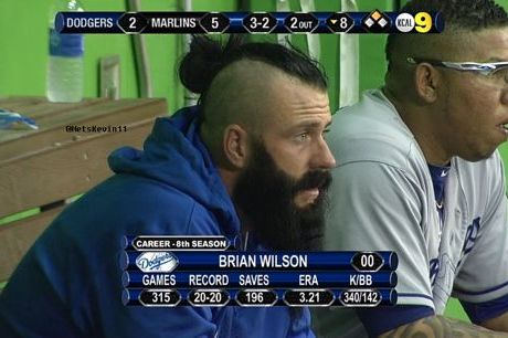 Los Angeles Dodgers' Brian Wilson Rocks a Mohawk-Ponytail Hybrid Hairstyle