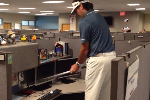 PGA's Bubba Watson Golfs in ESPN Offices
