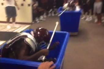 Texas A&M Football Players Go Medieval with Laundry Bin Jousting