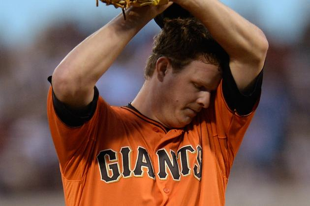 Matt Cain Exits After Being Hit with Comebacker