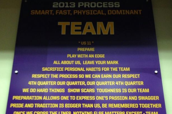 Photo: LSU Has a Very Detailed '2013 Process' Hanging in the Team Room