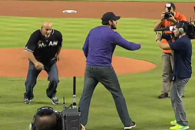 Bill Goldberg Spears Catcher During Legends of Wrestling Night at Marlins Park