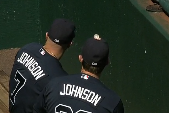 Braves' 3B Chris Johnson Sports Chewing Gum