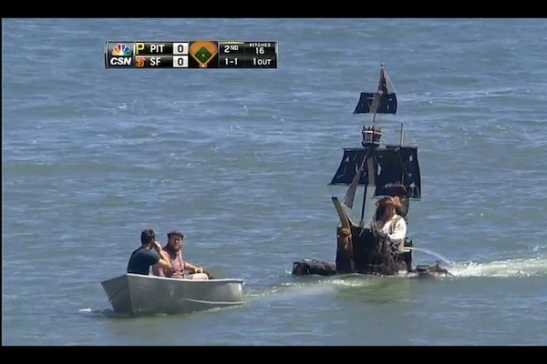 Pirate Ship Invades San Francisco's McCovey Cove During Giants-Pirates Series
