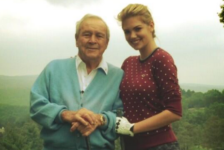 Legend Arnold Palmer Golfs with Supermodel Kate Upton