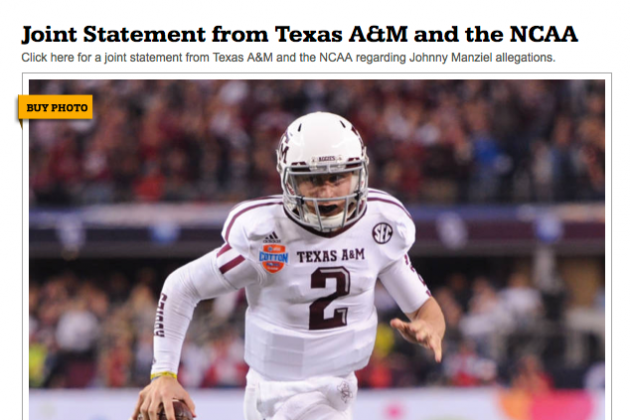 Texas A&M Selling Photos of Johnny Manziel on Webpage Announcing His Suspension