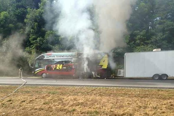 NASCAR Driver Jeff Gordon's Tour Bus Goes Up in Flames on Highway
