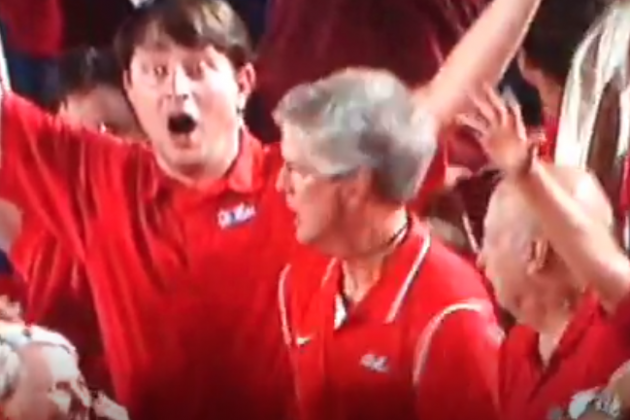 Ole Miss Fan Celebrates Jeff Scott's Game-Winning 75-Yard Touchdown Run