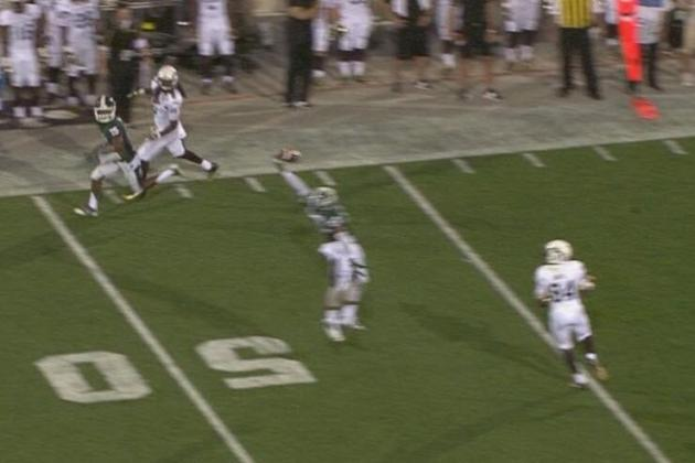 Michigan State Safety Kurtis Drummond Makes a Sick One-Handed Interception