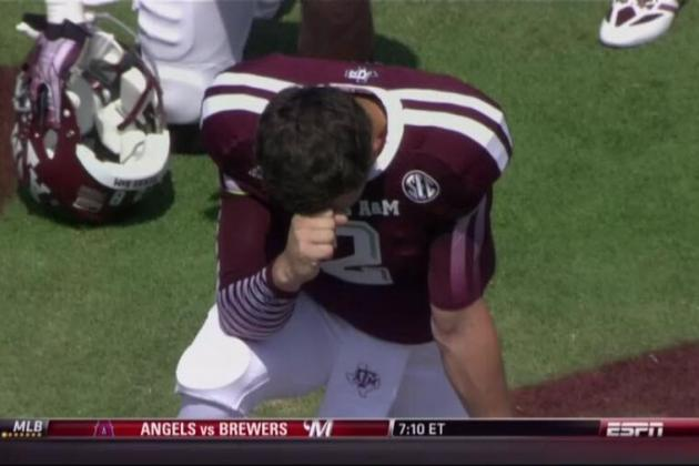 Johnny Manziel Pays Tribute to Tim Tebow, or Just Saying a Prayor