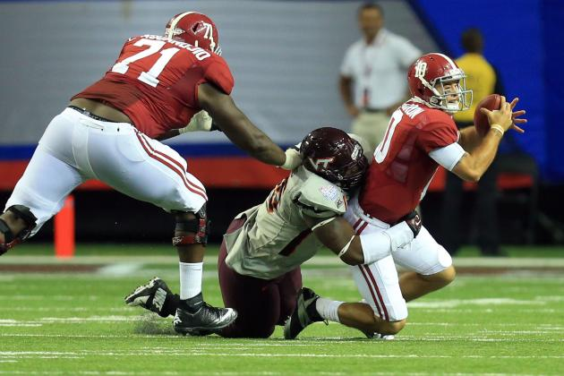 Alabama vs. Virginia Tech: O-Line Still a Concern for Crimson Tide Despite Win
