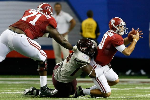 Alabama vs. Virginia Tech: Tide Offensive Line Needs a Lot of Work