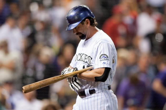 Todd Helton Goes 0-for-4 to Remain at 2,499 Hits in Rockies' Loss to Reds