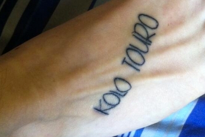 FAIL! a Drunk Liverpool Fan Gets a Misspelt Tattoo of Kolo Toure