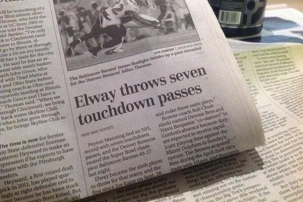 Ohio Newspaper Says John Elway Threw 7 Touchdowns During Broncos' Opener