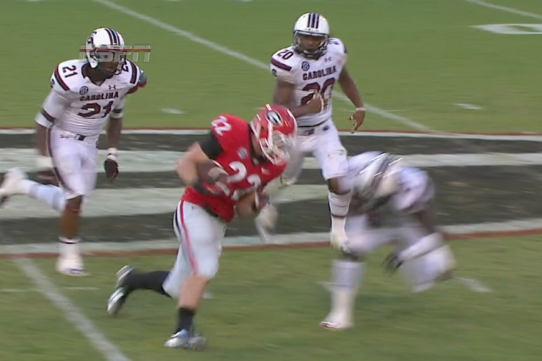 Georgia RB Brendan Douglas Trucks a South Carolina Defender