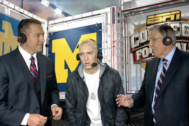 Eminem Joins the ESPN Broadcast Booth for Notre Dame-Michigan