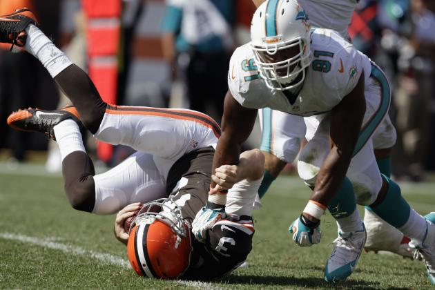 Weeden Sacked 5 Times in Loss to Dolphins