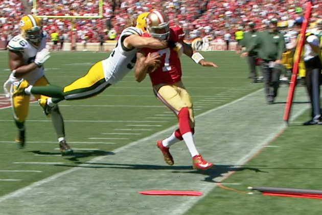 Clay Matthews Hits Colin Kaepernick Late out of Bounds, Fight Breaks out