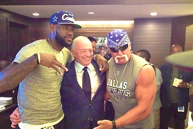 Dallas Cowboys Owner Jerry Jones Takes a Photo with LeBron James and Hulk Hogan