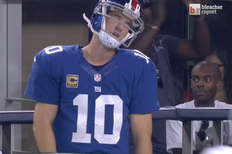 Eli Manning Pouts After Throwing Late Pick-6 Against Dallas
